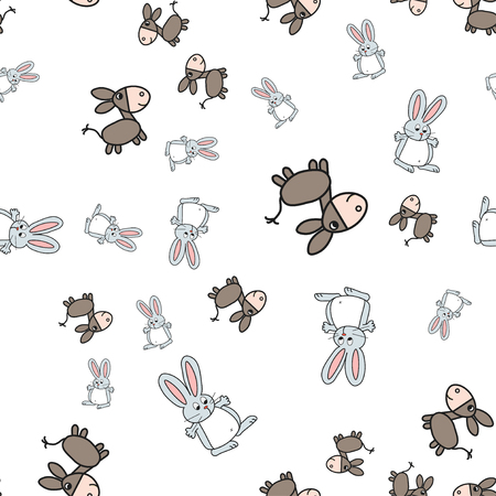 Seamless pattern of bunnies and donkeys in cartoon style. On white background, vector illustration.