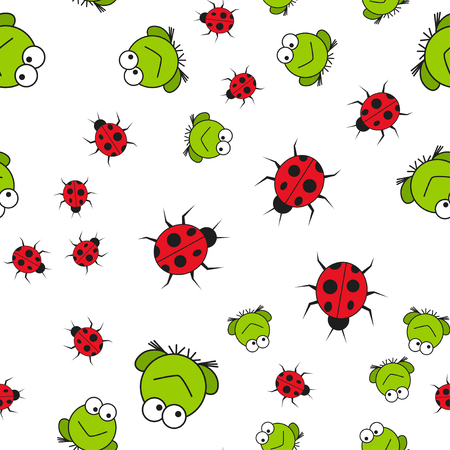 Seamless pattern of frogs and ladybugs in cartoon style. On white background, vector illustration.