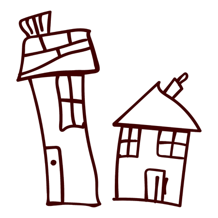 Kids house in doodle style. Contoured and isolated. Vector illustration Standard-Bild