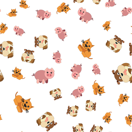 Seamless pattern of cat dogs and pigs. Vector illustration in cartoon style. Stock Illustratie