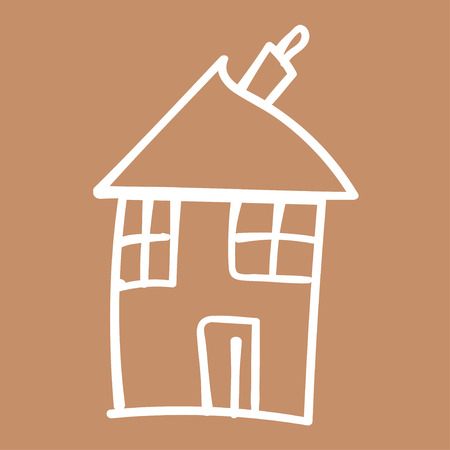 Kids painted houses in doodle style. Outlined and isolated on a colored background. Vector illustration