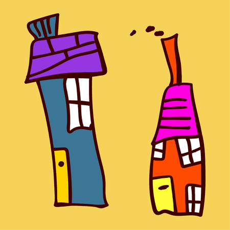 Kids painted houses in doodle style. Painted and isolated on a colored background. Vector illustration Standard-Bild