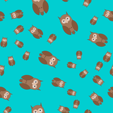 Seamless pattern made of owls. Vector illustration in cartoon style on a colored background.