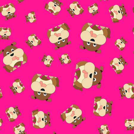 Seamless pattern of dogs. Vector illustration in cartoon style on a colored background. Illustration