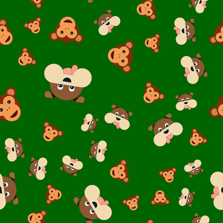 Seamless pattern of dogs and monkeys head. Vector illustration in cartoon style on a colored background.