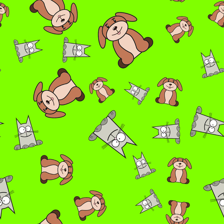 Seamless pattern of cats and dogs in in cartoon style. On color background, vector illustration.