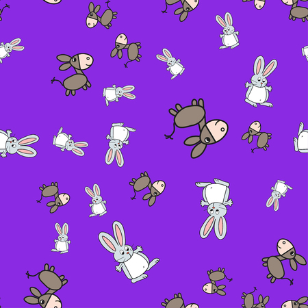 Seamless pattern of bunnies and donkeys in cartoon style. On color background, vector illustration.