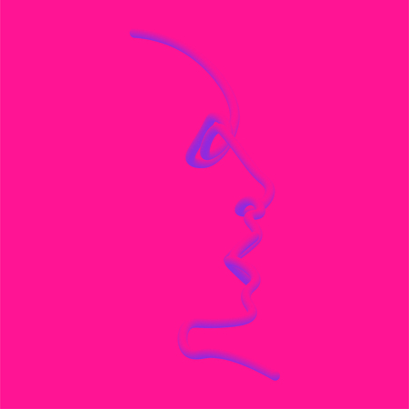 Man of one line. Vector illustration of a black man face on a color background. Zdjęcie Seryjne - 124113374