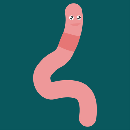 Cartoon worm squirms. Vector illustration on color background. Banque d'images - 122197418