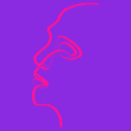 Man of one line. Vector illustration of a black man face on a color background. Zdjęcie Seryjne - 123621816