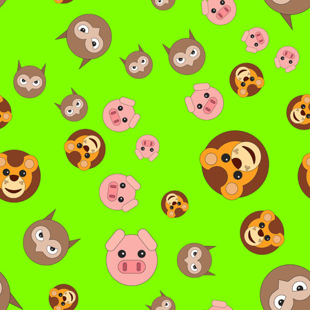 Seamless pattern of lion head pigs and owls. Vector illustration in cartoon style on a colored background.