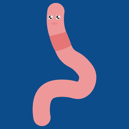 Cartoon worm squirms. Vector illustration on color background. Banque d'images - 122197652