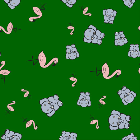 Seamless pattern from flamingos and elephants in in cartoon style. On color background,  illustration.
