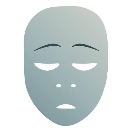 Theatrical mask with repentance emotion. Vector illustration. Blue mask with gradient isolated on white background.