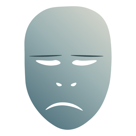 Theatrical mask with sorrowful emotion. Vector illustration. Blue mask with gradient isolated on white background.