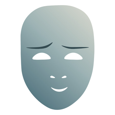 Theatrical mask with cute emotion. Vector illustration. Blue mask with gradient isolated on white background.