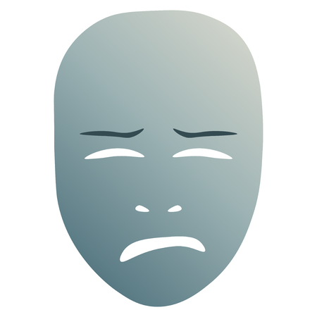 Theatrical mask with crying emotion. Vector illustration. Blue mask with gradient isolated on white background.
