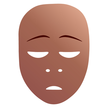 Theatrical mask with repentance emotion. Vector illustration. Bronze mask with gradient isolated on white background.