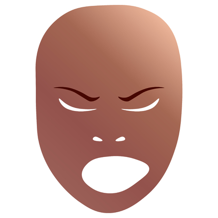 Theatrical mask with angry emotion. Vector illustration. Bronze mask with gradient isolated on white background.