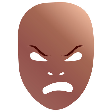 Theatrical mask with frenzied emotion. Vector illustration. Bronze mask with gradient isolated on white background.