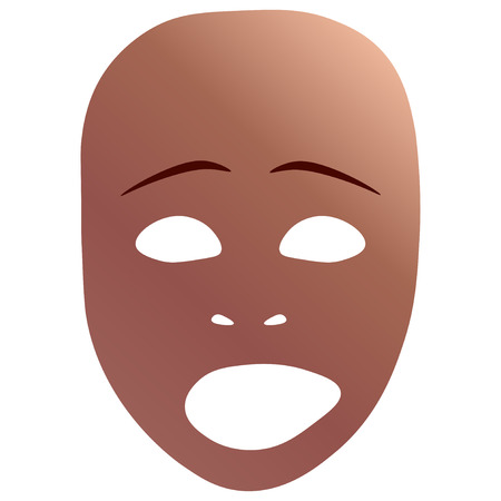 Theatrical mask with sad emotion. Vector illustration. Bronze mask with gradient isolated on white background. Illustration