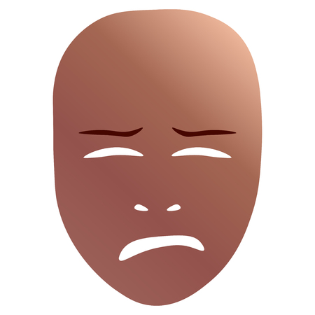 Theatrical mask with crying emotion. Vector illustration. Bronze mask with gradient isolated on white background.