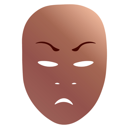 Theatrical mask with anger emotion. Vector illustration. Bronze mask with gradient isolated on white background. Illustration