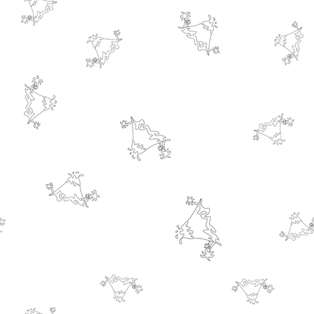 Seamless pattern of contour of volcanic eruption with palm trees, which can be used as a coloring. Isolated on white background. Vector illustration.
