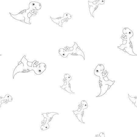 Seamless pattern of contour of dinosaurus tyrannosaur. Isolated on white background. Vector illustration.