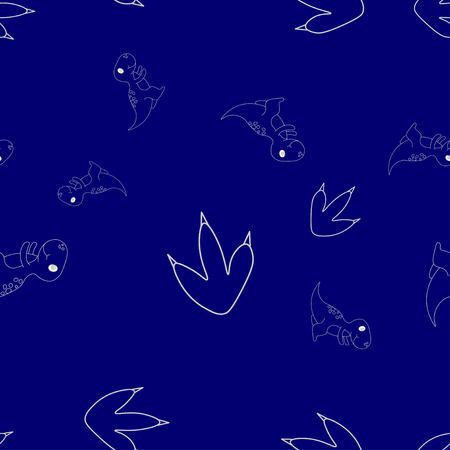 Seamless pattern of contour of dinosaurus tyrannosaur and footprint. Isolated on blue background. Vector illustration.