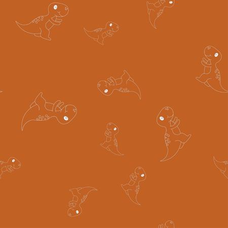 Seamless pattern of contour of dinosaurus tyrannosaur. Isolated on brown background. Vector illustration. Stock Illustratie