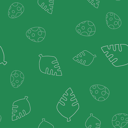 Seamless pattern of contour of dinosaurus egg and leaf tree. Isolated on green background. Vector illustration.