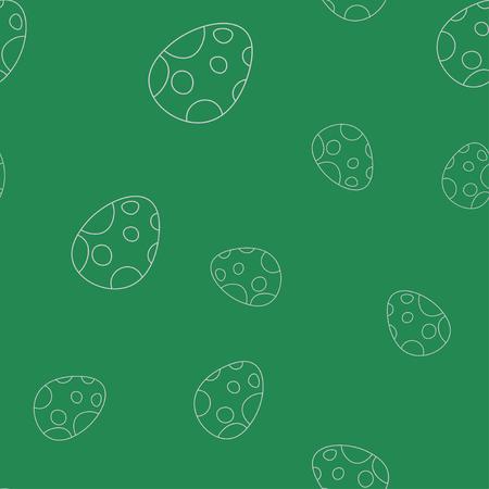 Seamless pattern of contour of dinosaurus egg. Isolated on green background. Vector illustration. Stock Illustratie