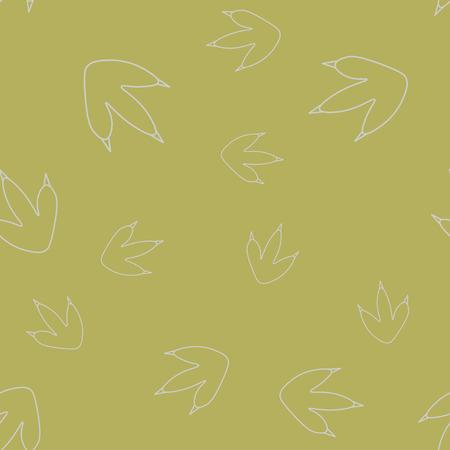 Seamless pattern of contour of dinosaurus footprint. Isolated on green background. Vector illustration. Stock Illustratie
