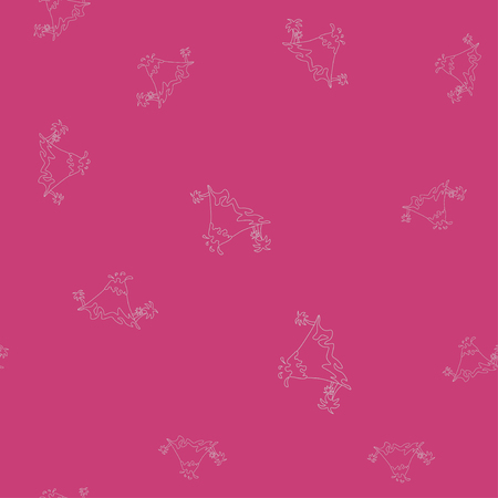 Seamless pattern of contour of volcanic eruption with palm trees. Isolated on pink background. Vector illustration.