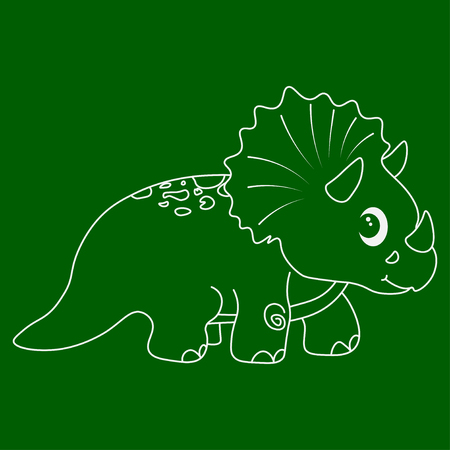 Contour of dinosaurus triceratops. Isolated on green background. Vector illustration.