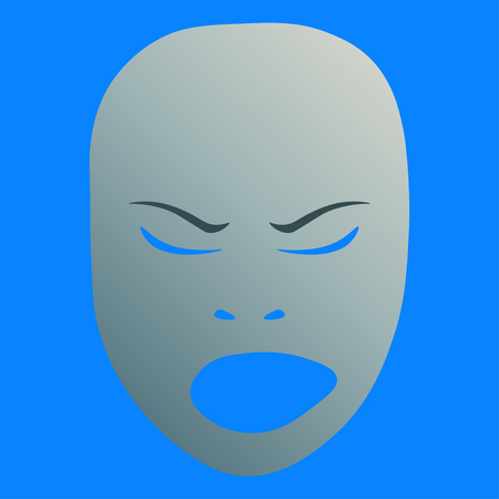 Theatrical mask with angry emotion. Vector illustration. Silver mask with gradient on blue background.