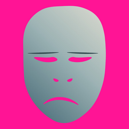 Theatrical mask with sorrowful emotion. Vector illustration. Silver mask with gradient on pink background.