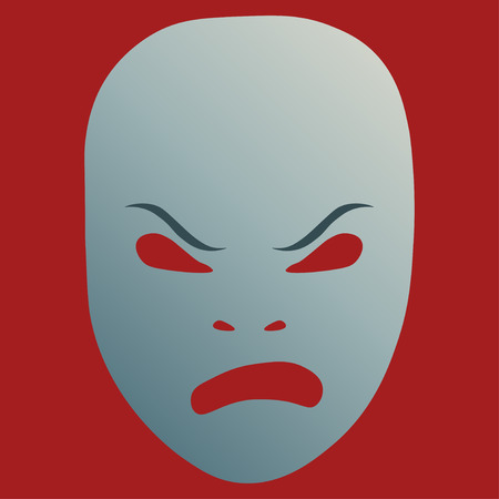 Theatrical mask with frenzied emotion. Vector illustration. Silver mask with gradient on red background. Illustration
