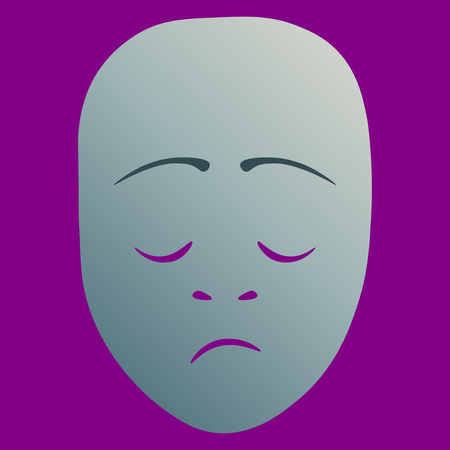 Theatrical mask with dreary emotion. Vector illustration. Silver mask with gradient on purple background.