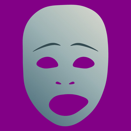 Theatrical mask with sad emotion. Vector illustration. Silver mask with gradient on purple background.