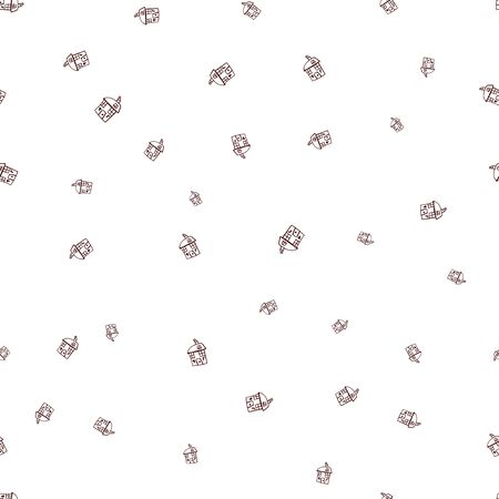 Seamless pattern of houses in doodle style.  illustration of a contour child drawing on a white background