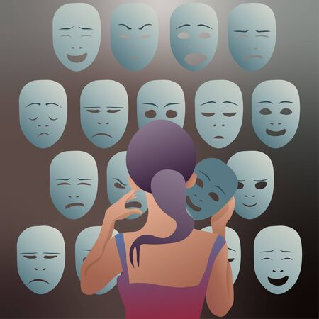 The girl removes the mask of emotion of joy, to put it to his other emotions. Vector illustration. Иллюстрация