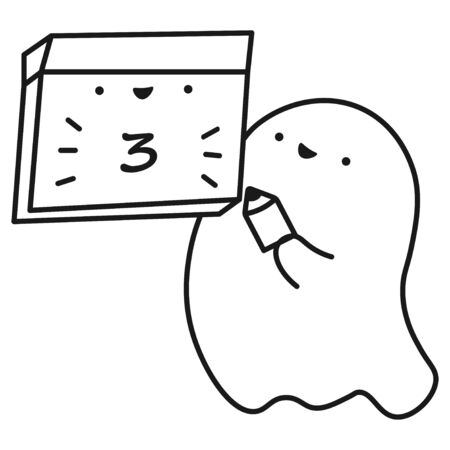 Funny ghost keeps calendar with the date of the month. Outline drawing. Vector illustration Illustration
