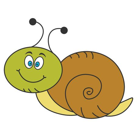 Funny snail in cartoon style. Color drawing. Vector illustration.