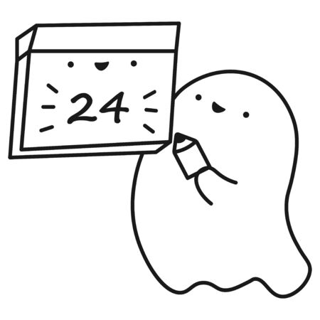 Funny ghost keeps calendar with the date of the month. Outline drawing. Vector illustration  イラスト・ベクター素材