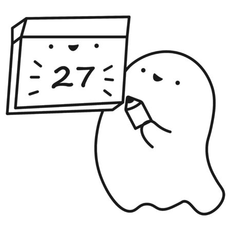 Funny ghost keeps calendar with the date of the month. Outline drawing. Vector illustration Ilustração