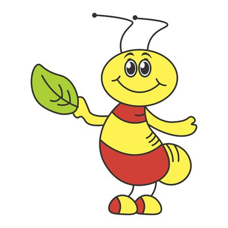 A cheerful beetle in a cartoon style holding a leaf of a tree. Color drawing. Vector illustration
