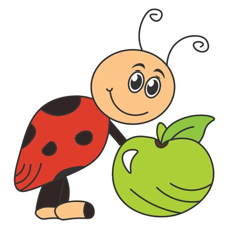 Cartoon ladybug holding an apple. Color drawing. Vector illustration