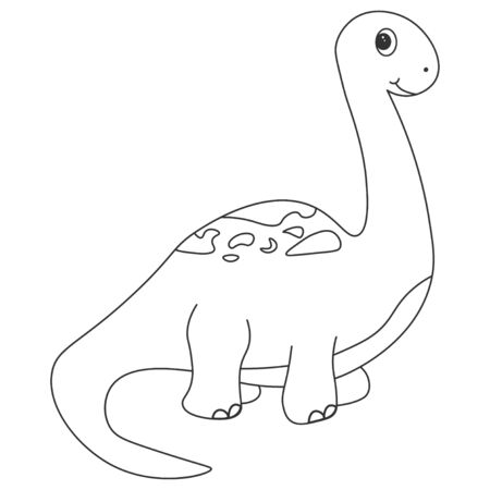 Contour of dinosaurus brachiosaurus, which can be used as a coloring. Isolated on white background.  illustration.